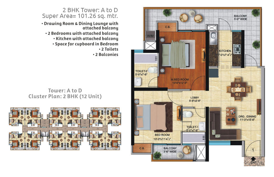 2BHK (TOWER : A TO D) SUPER AREA 101.26 SQ.MTR.